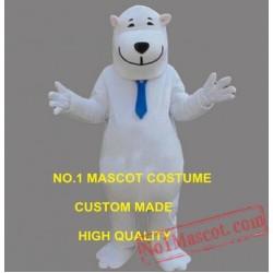 The White Polite Smile Polar Bear Mascot Costume
