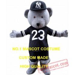 Grey Sport Bear Mascot Costume