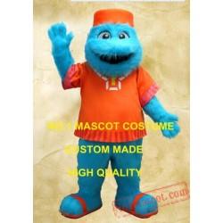 Blue Monster Mascot Long Hair Plush Costume
