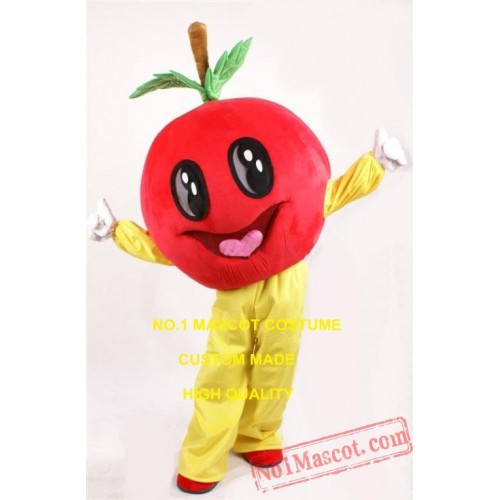 Happy Red Apple Mascot Costume