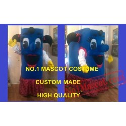 Happy Blue Girl Book Mascot Costume
