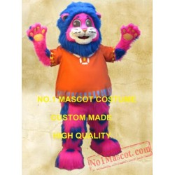 Blue Spotted Pink Lion Mascot Long Hair Plush Costume