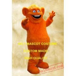 Orange Monster Mascot Long Hair Plush Costume
