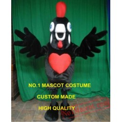 New Black Rooster Chicken Mascot Costume