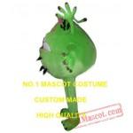 Green Cartoon Bacterial Germ Alien Girl Mascot Costume
