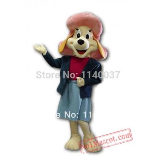 Brand New Pink Hat Yellow Basset Dog Mascot Costume