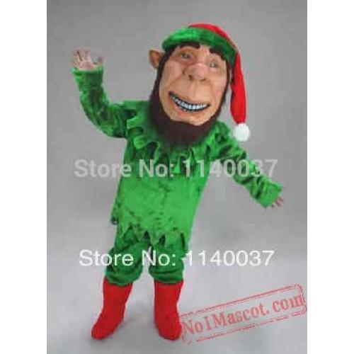 Christmas Green Elf Mascot Costume