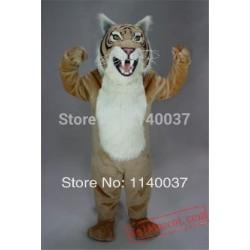 Plush Material Tan Wildcat Mascot Costume