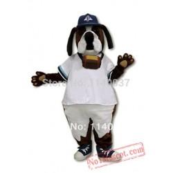 Cool White Coate St. Bernard Dog Mascot Costume