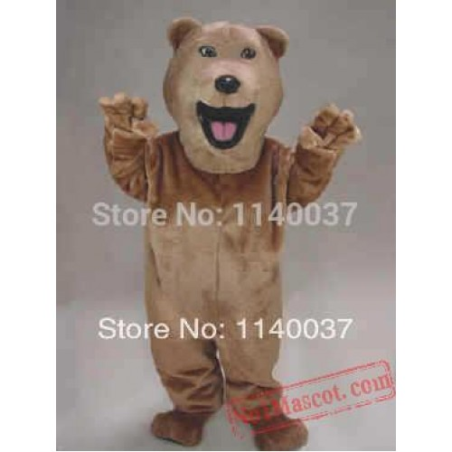 Openmouthed Light Brown Bear Mascot Costume