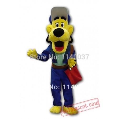 Blue Coat Yellow Dog Costume Mascot For Sale Adult Animal Mascot Costume