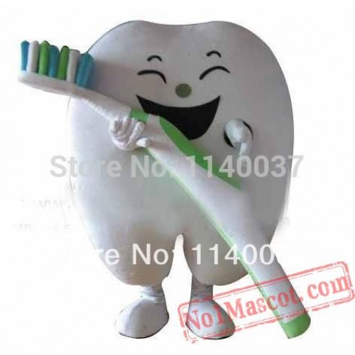 Healthy Good Tooth With Tooth Brush Mascot Costume