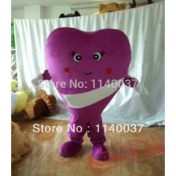 Romantic Valentine'S Day Purple Heart Mascot Costume