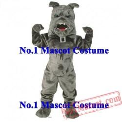 New Deluxe Power Bulldog Mascot Sport Costume Adult Grey Bulldog
