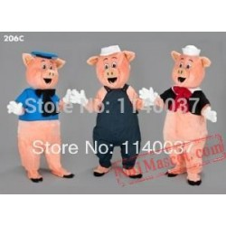 Mascot 3 Little Pigs Mascot Costume